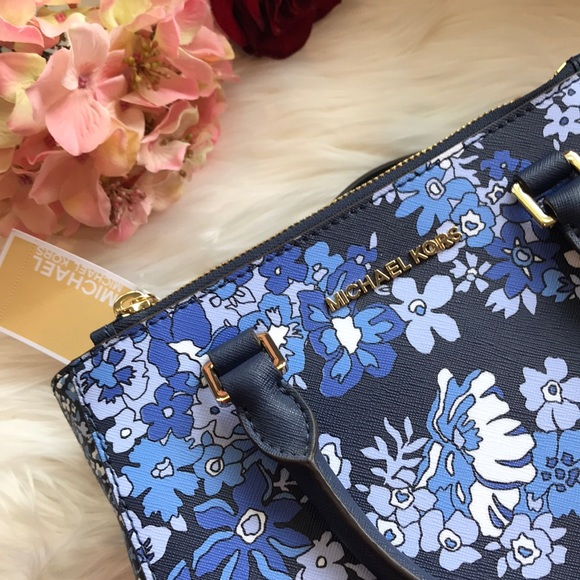 00ffefaf5e76 Michael Kors Bags | Kellen Blue Floral Satchel | Poshmark